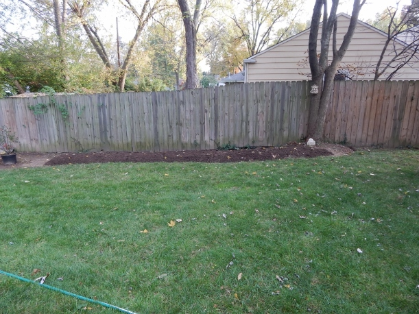 The new bed along the fence is waiting to be planted. My winter day dreaming is under way.